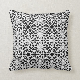 Black and White Lace Patterned Throw Pillow
