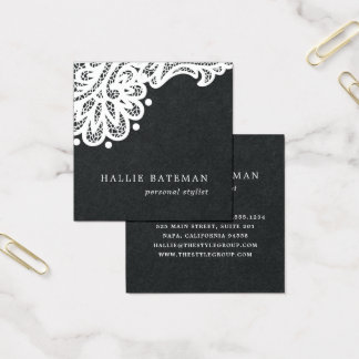 Black and White Lace Square Business Card