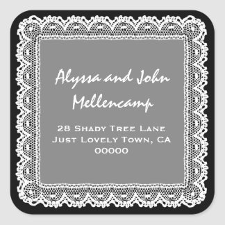 Black and White Lacy Address Labels Square Stickers