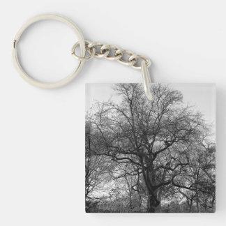 Black and White Landscape Photo Square Acrylic Keychain
