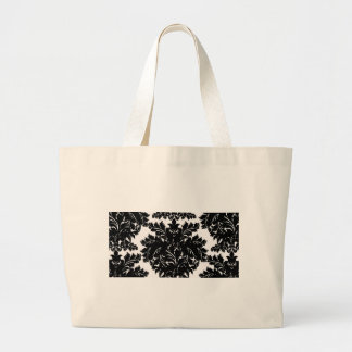 Black and White Large Damask Tote Bag