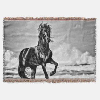 Black and White Large Horse Western Equestrian Throw Blanket