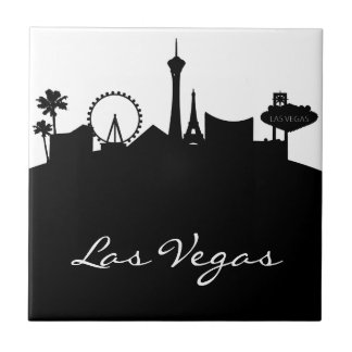 Black and White Las Vegas Skyline Tile