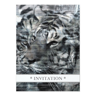 Black and White Layered Tigers Vintage 14 Cm X 19 Cm Invitation Card