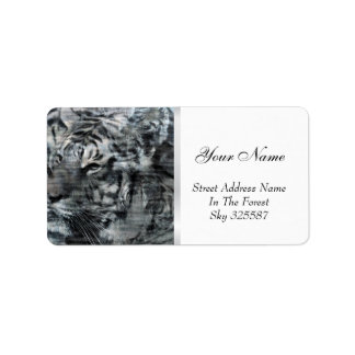 Black and White Layered Tigers Vintage Address Label