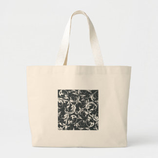 Black and White Leaf Pattern Canvas Bag