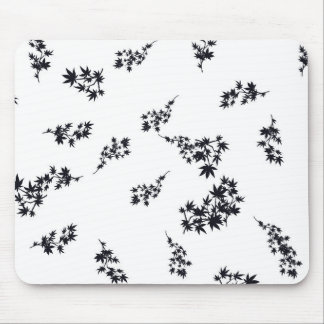 Black and White Leaves Mouse Pad