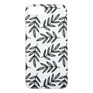 Black and White Leaves Pattern iPhone 7 Case