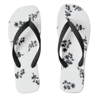 Black and White Leaves Thongs
