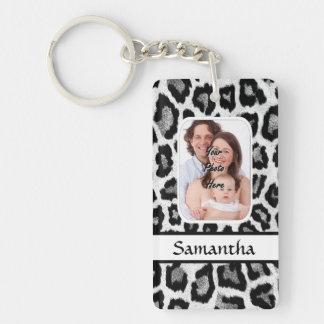 Black and white leopard animal print Double-Sided rectangular acrylic key ring
