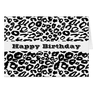 Black and White Leopard Print Card