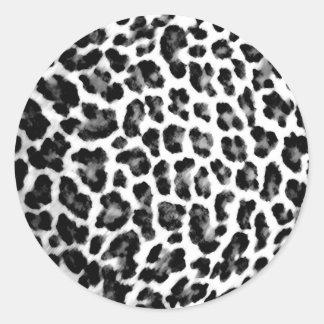 Black and White Leopard Print Round Sticker
