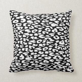 Black and White Leopard Print Skin Fur Throw Pillow