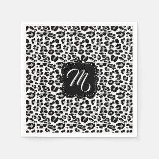 Black and White Leopard Print with Custom Monogram Disposable Serviette