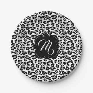 Black and White Leopard Print with Custom Monogram Paper Plate