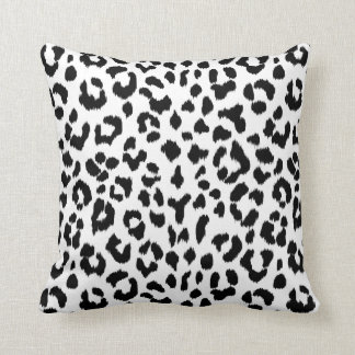 black and white leopard print  with monogram cushion