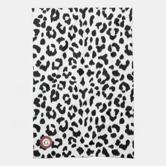 black and white leopard print  with monogram tea towel