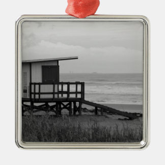 Black and White Lifeguard Stand Silver-Colored Square Decoration