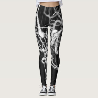black and white light painting print leggings