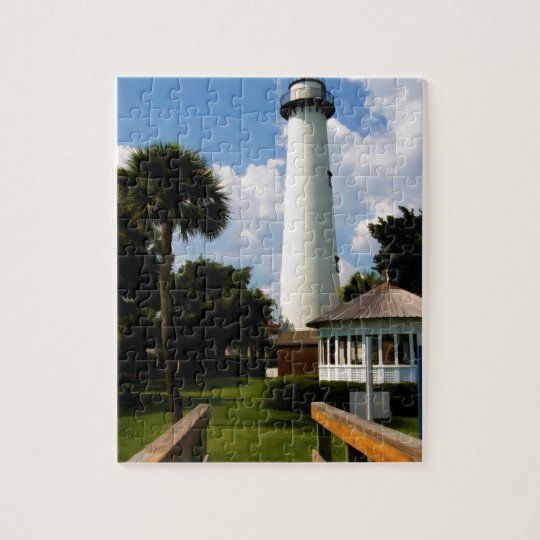 Black and White Lighthouse Jekyll Island Georgia Jigsaw Puzzle