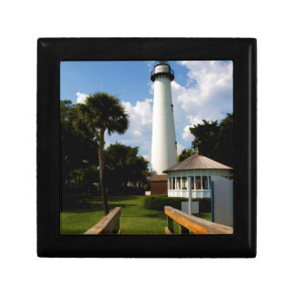 Black and White Lighthouse Jekyll Island Georgia Small Square Gift Box