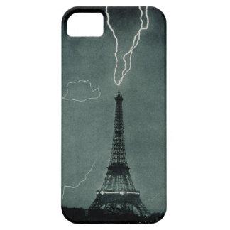 Black and White Lightning Strike Eiffel Tower Case