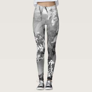 Black and white lilacs leggings