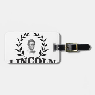 black and white lincoln luggage tag