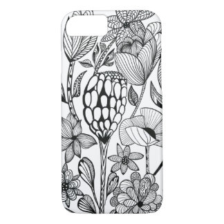 Black and white line art flower pattern iPhone 8/7 case