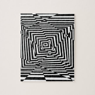Black and White Line Illusion Pattern Jigsaw Puzzle