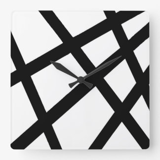 Black and White Linear Geometric 2 Square Wall Clock