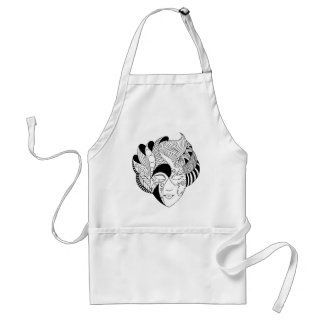 black and white lineart mask standard apron