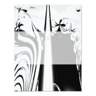 Black and White Lines and Swirls. 11 Cm X 14 Cm Invitation Card