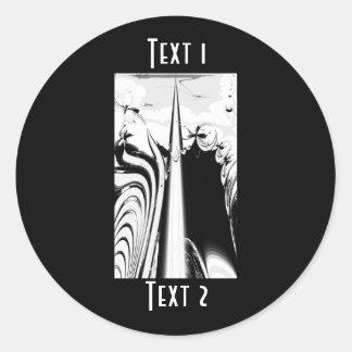 Black and White Lines and Swirls. Round Sticker