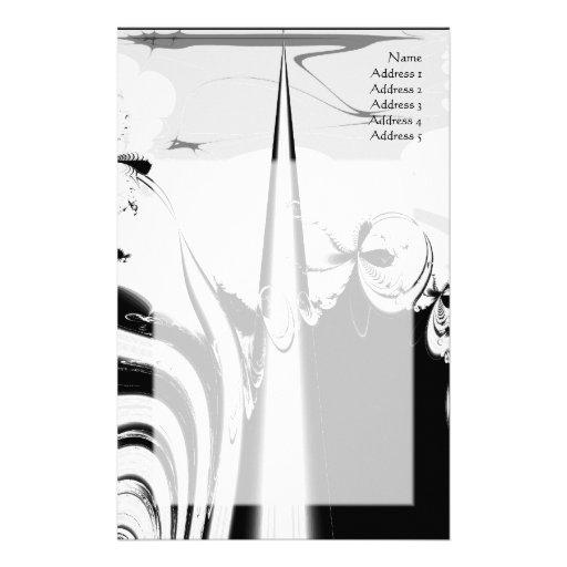 Black and White Lines and Swirls. Custom Stationery