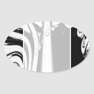 Black and White Lines and Swirls. Oval Sticker