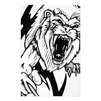 Black and White Lion Personalised Stationery