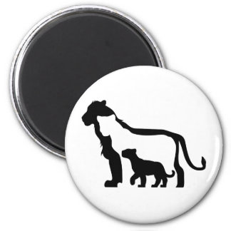 Black and White Lions 6 Cm Round Magnet