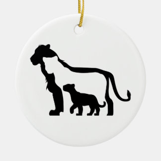 Black and White Lions Ceramic Ornament