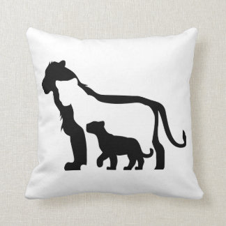 Black and White Lions Cushion