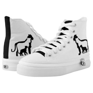 Black and White Lions High Tops