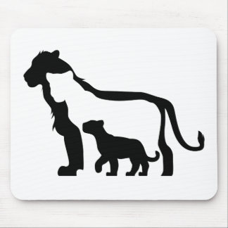 Black and White Lions Mouse Pad