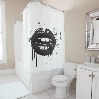 Black and white lips beauty makeup kiss fashion shower curtain