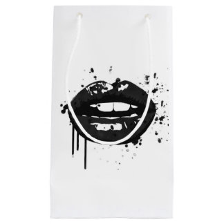 Black and white lips beauty makeup kiss fashion small gift bag