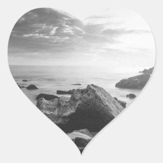 Black and White Little Corona Del Mar Beach Heart Sticker
