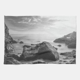 Black and White Little Corona Del Mar Beach Tea Towel