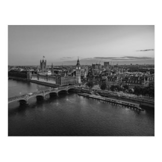 Black and White London Aerial View at Sunset Postcard