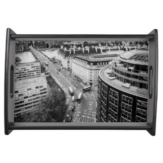 Black and White London City Serving Tray