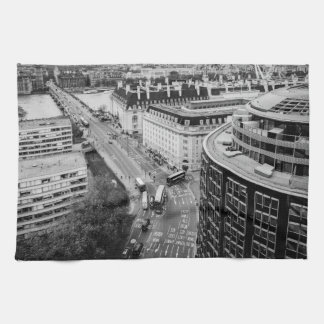 Black and White London City Tea Towel
