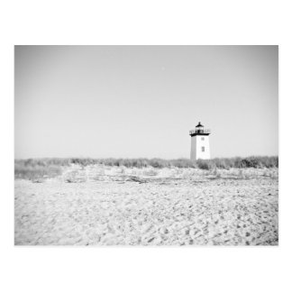 black and white lonely light house postcard